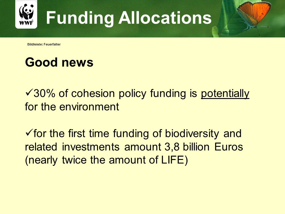 Bildleiste: Feuerfalter Funding Allocations Good news 30% of cohesion policy funding is potentially for the environment for the first time funding of