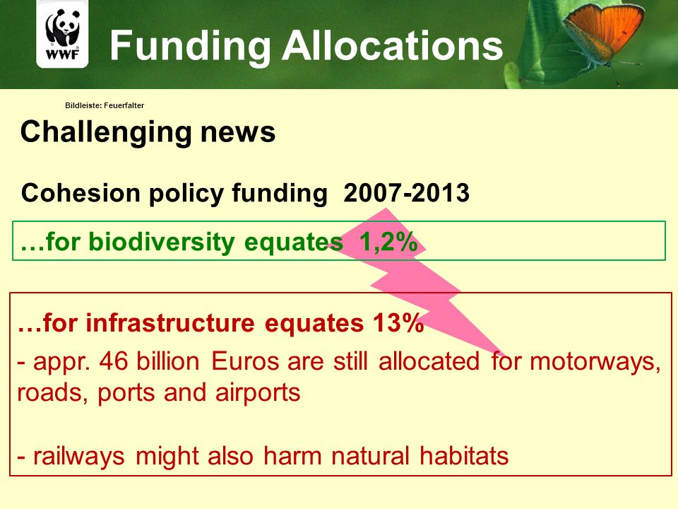 Bildleiste: Feuerfalter Funding Allocations …for infrastructure equates 13% - appr. 46 billion Euros are still allocated for motorways, roads, ports a