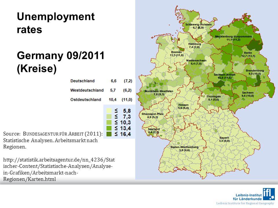 Leibniz Institute for Regional Geography Unemployment rates Germany 09/2011 (Kreise) Source: B UNDESAGENTUR FÜR A RBEIT (2011): Statistische Analysen.