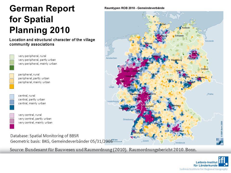 Leibniz Institute for Regional Geography German Report for Spatial Planning 2010 Source: Bundesamt für Bauwesen und Raumordnung (2010). Raumordnungsbe