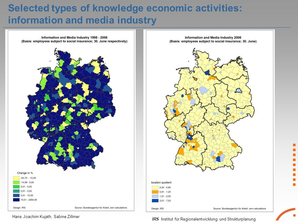 IRS Institut für Regionalentwicklung und Strukturplanung Hans Joachim Kujath, Sabine Zillmer Selected types of knowledge economic activities: information and media industry