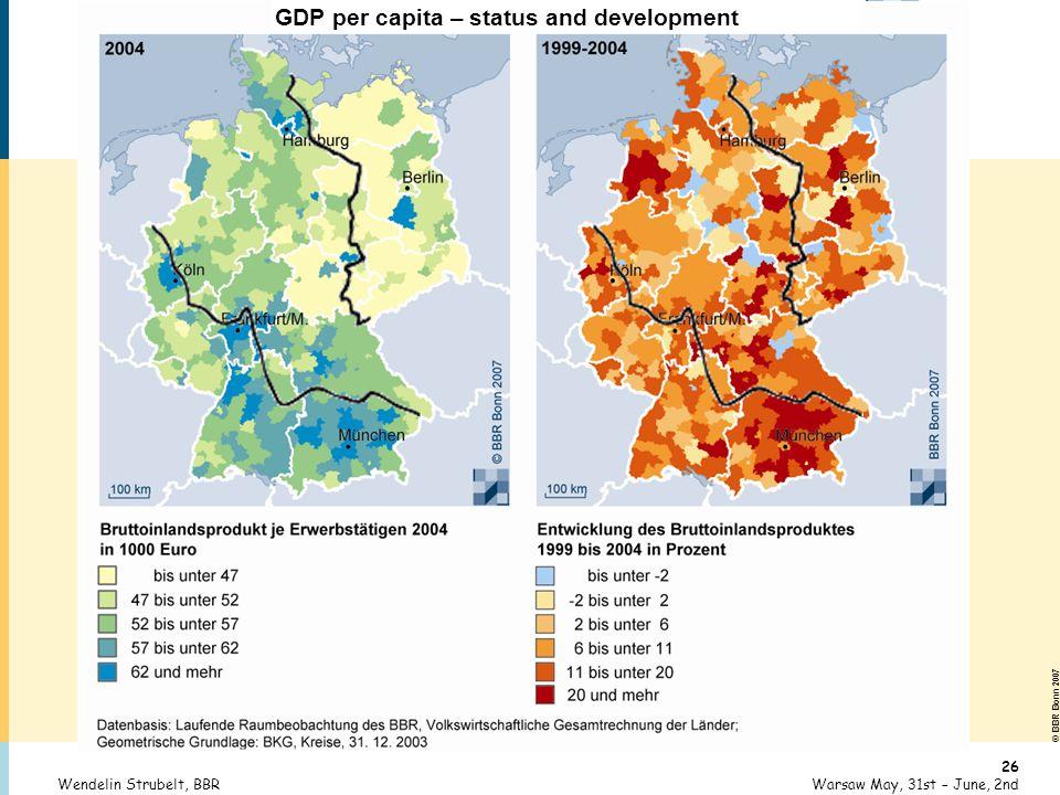 © BBR Bonn 2007 26 Warsaw May, 31st – June, 2ndWendelin Strubelt, BBR GDP per capita – status and development