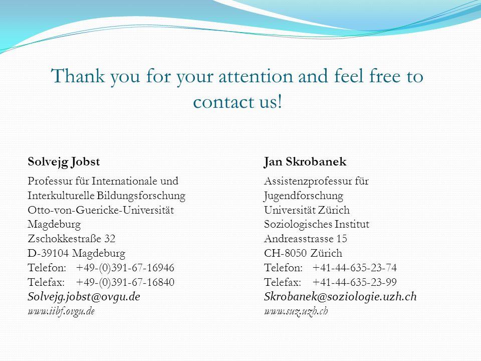 Solvejg Jobst Professur für Internationale und Interkulturelle Bildungsforschung Otto-von-Guericke-Universität Magdeburg Zschokkestraße 32 D-39104 Mag