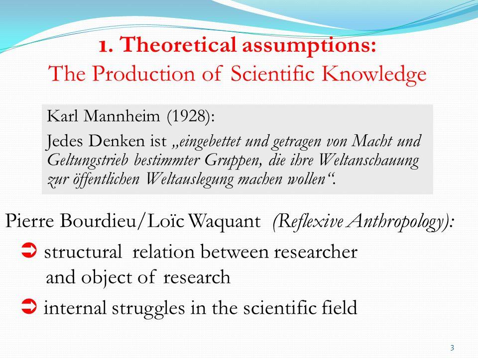 1. Theoretical assumptions: The Production of Scientific Knowledge 3 Karl Mannheim (1928): Jedes Denken ist eingebettet und getragen von Macht und Gel