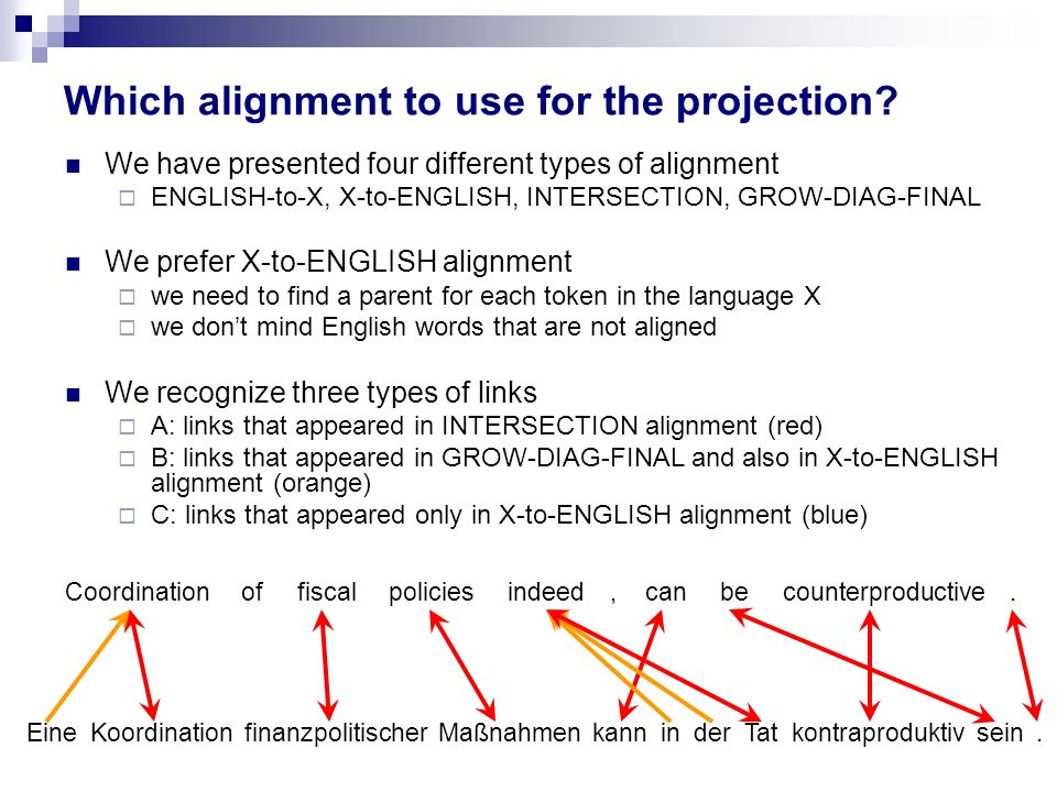 Which alignment to use for the projection? We have presented four different types of alignment ENGLISH-to-X, X-to-ENGLISH, INTERSECTION, GROW-DIAG-FIN