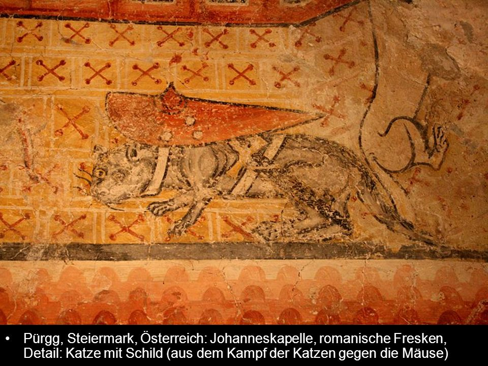 Pürgg, Steiermark, Österreich: Johanneskapelle, romanische Fresken, Detail: Katze mit Schild (aus dem Kampf der Katzen gegen die Mäuse)