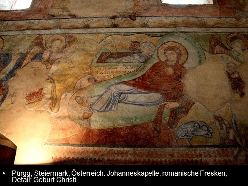 Pürgg, Steiermark, Österreich: Johanneskapelle, romanische Fresken, Detail: Geburt Christi