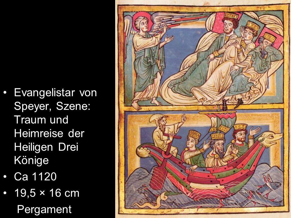Evangelistar von Speyer, Szene: Traum und Heimreise der Heiligen Drei Könige Ca 1120 19,5 × 16 cm Pergament