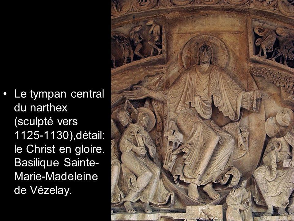 Le tympan central du narthex (sculpté vers 1125-1130),détail: le Christ en gloire. Basilique Sainte- Marie-Madeleine de Vézelay.
