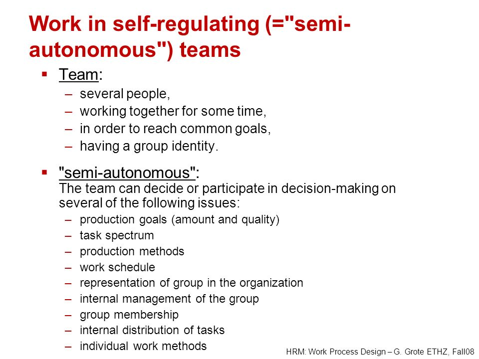 HRM: Work Process Design – G. Grote ETHZ, Fall08 Work in self-regulating (=