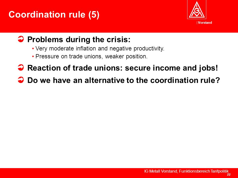 Vorstand IG Metall Vorstand, Funktionsbereich Tarifpolitik 22 Coordination rule (5) Problems during the crisis: Very moderate inflation and negative productivity.