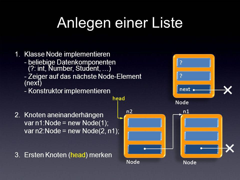 Anlegen einer Liste 1.Klasse Node implementieren - beliebige Datenkomponenten ( : int, Number, Student, …) - Zeiger auf das nächste Node-Element (next) - Konstruktor implementieren 2.Knoten aneinanderhängen var n1:Node = new Node(1); var n2:Node = new Node(2, n1); 3.