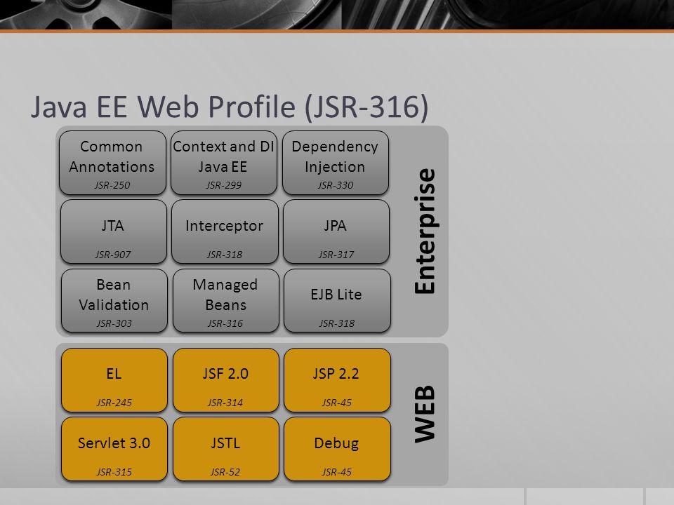 Enterprise WEB Java EE Web Profile (JSR-316) Debug JSR-45 JSTL JSR-52 Servlet 3.0 JSR-315 JSP 2.2 JSR-45 JSF 2.0 JSR-314 EL JSR-245 EJB Lite JSR-318 M