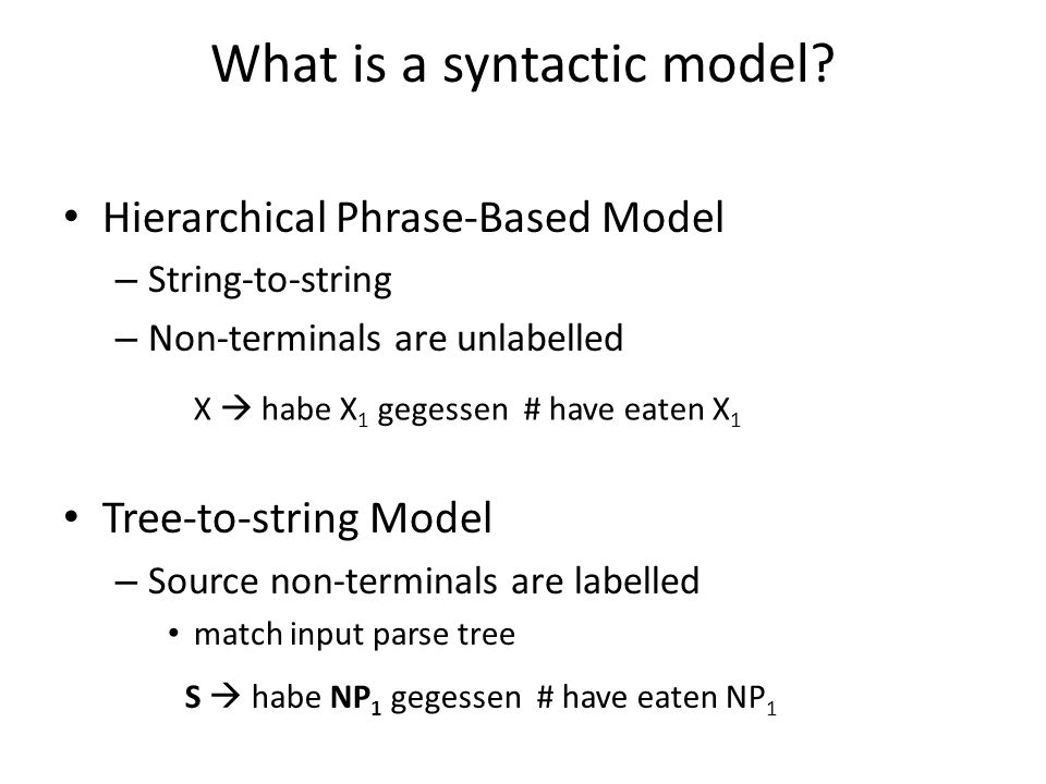 What is a syntactic model.