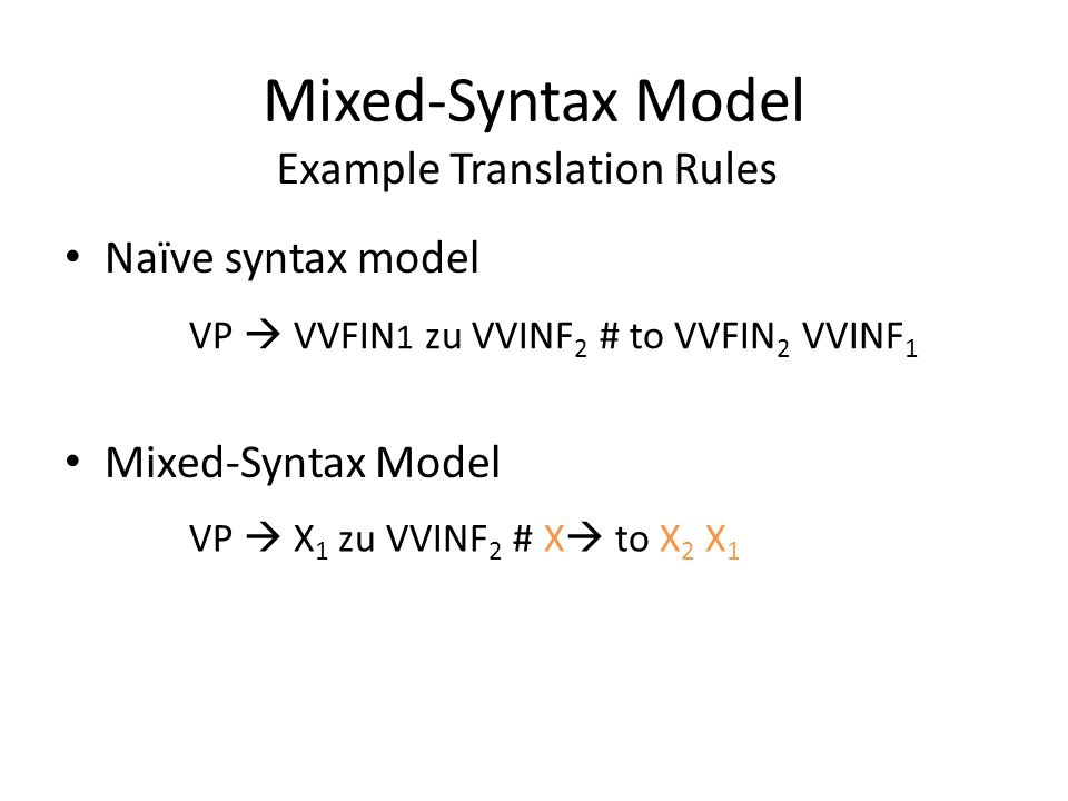 Mixed-Syntax Model Naïve syntax model Mixed-Syntax Model Example Translation Rules VP VVFIN 1 zu VVINF 2 # to VVFIN 2 VVINF 1 VP X 1 zu VVINF 2 # X to X 2 X 1