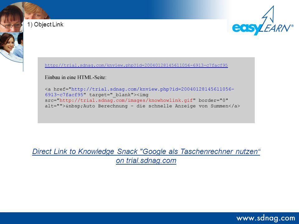 1) Object Link Direct Link to Knowledge Snack Google als Taschenrechner nutzen on trial.sdnag.com