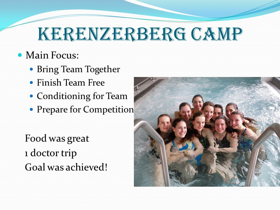 Kerenzerberg Camp Main Focus: Bring Team Together Finish Team Free Conditioning for Team Prepare for Competition Food was great 1 doctor trip Goal was achieved!