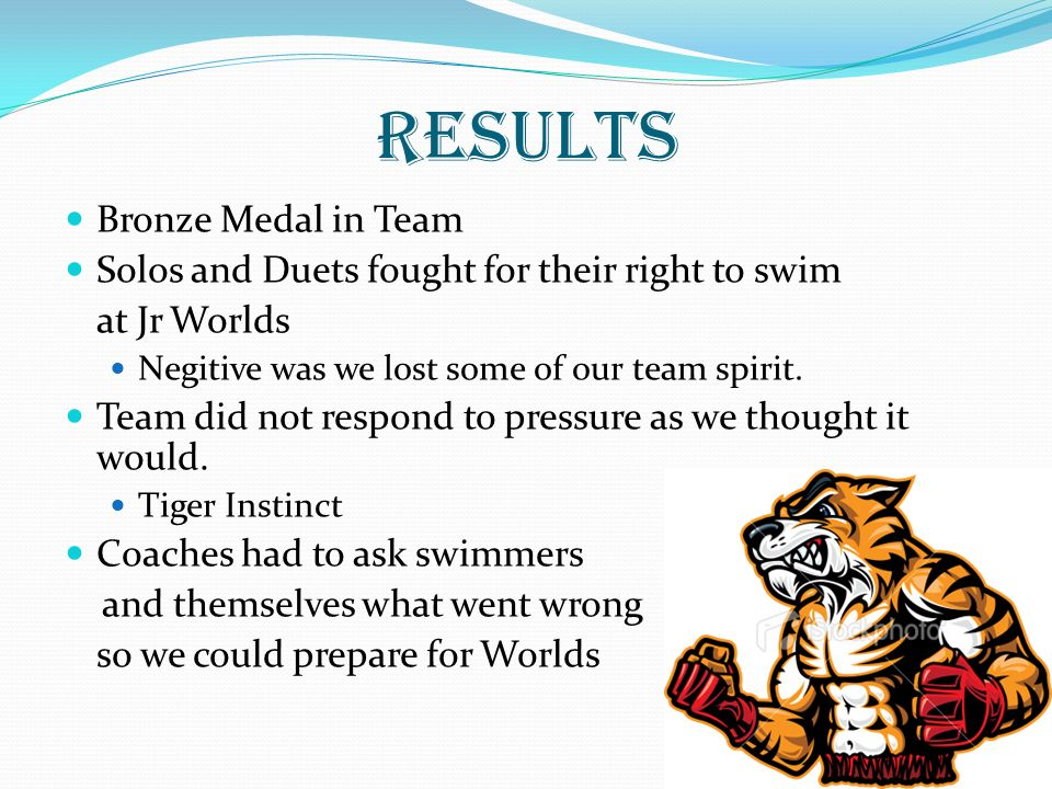 RESULTS Bronze Medal in Team Solos and Duets fought for their right to swim at Jr Worlds Negitive was we lost some of our team spirit.