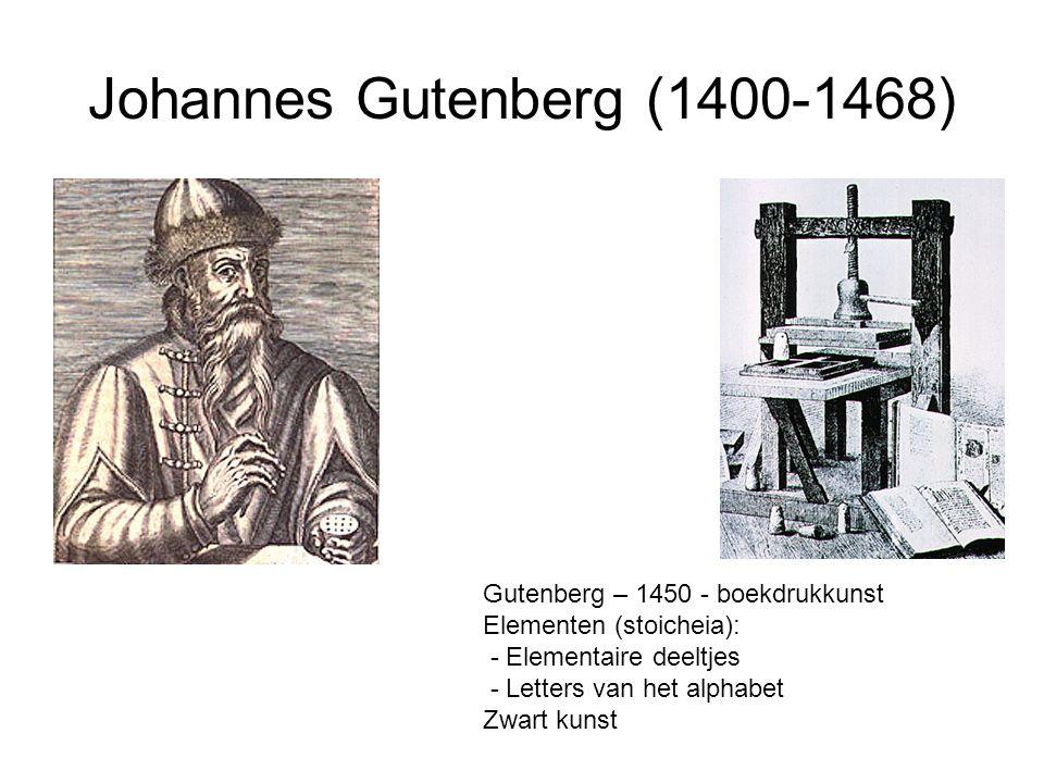 Johannes Gutenberg (1400-1468) Gutenberg – 1450 - boekdrukkunst Elementen (stoicheia): - Elementaire deeltjes - Letters van het alphabet Zwart kunst