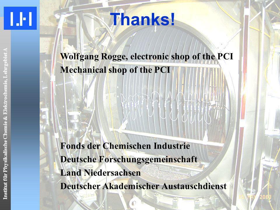 Institut für Physikalische Chemie & Elektrochemie, Lehrgebiet A Thanks! Wolfgang Rogge, electronic shop of the PCI Mechanical shop of the PCI Fonds de