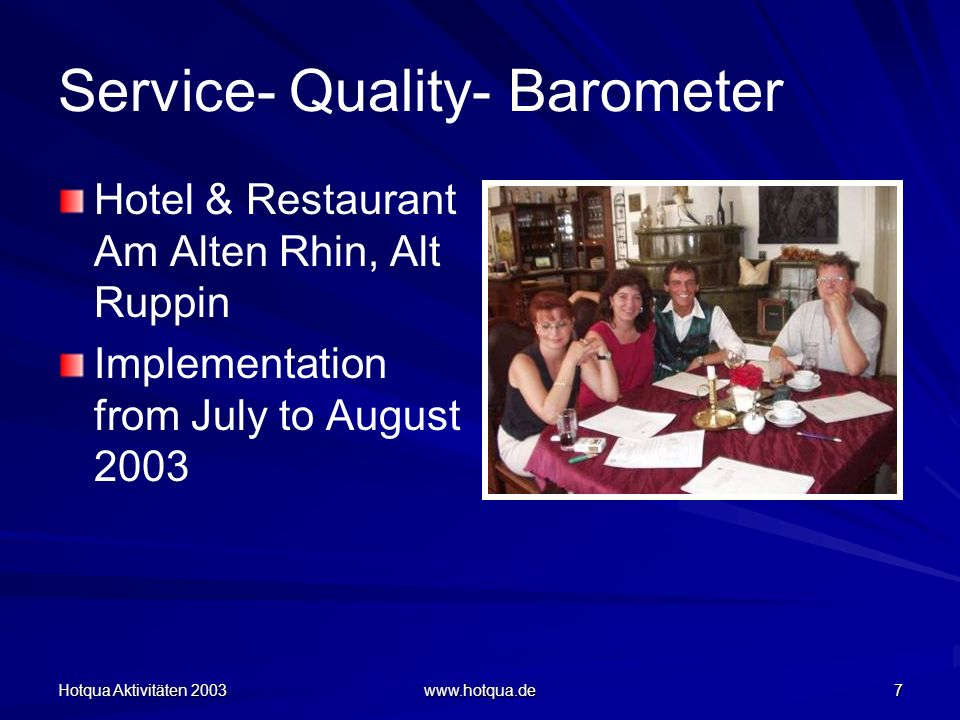 Hotqua Aktivitäten 2003 www.hotqua.de 7 Service- Quality- Barometer Hotel & Restaurant Am Alten Rhin, Alt Ruppin Implementation from July to August 2003