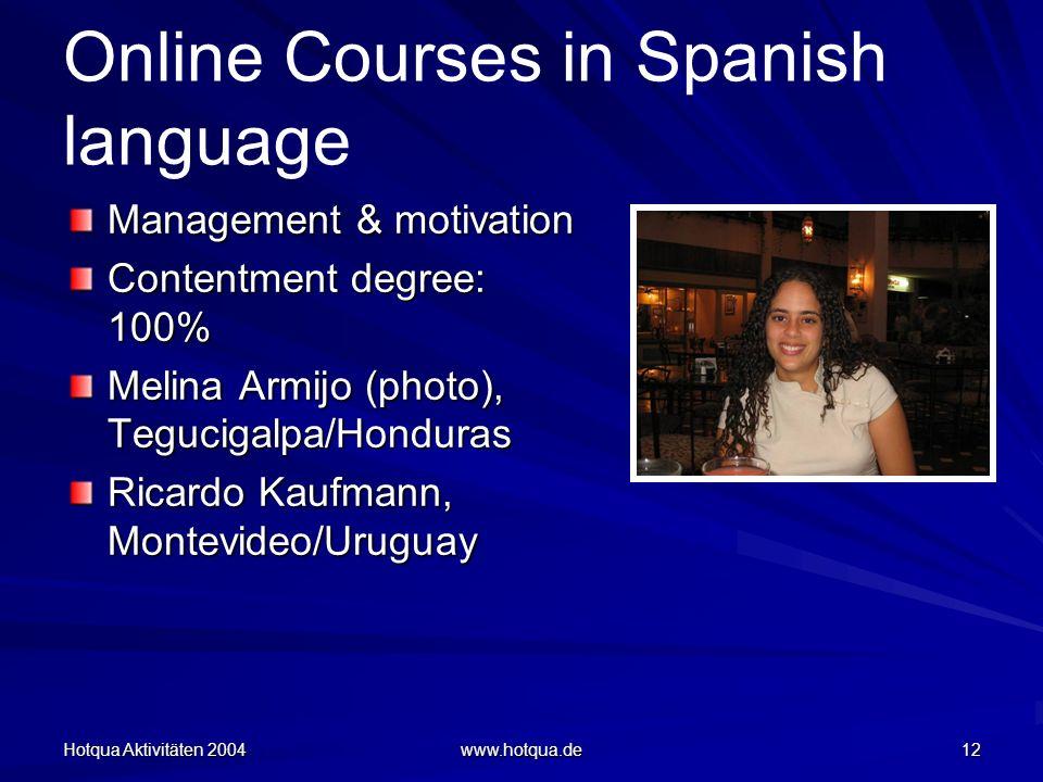 Hotqua Aktivitäten 2004 www.hotqua.de 12 Online Courses in Spanish language Management & motivation Contentment degree: 100% Melina Armijo (photo), Tegucigalpa/Honduras Ricardo Kaufmann, Montevideo/Uruguay