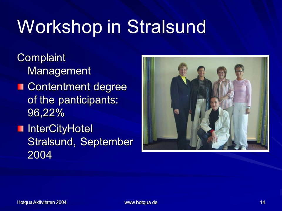 Hotqua Aktivitäten 2004 www.hotqua.de 14 Workshop in Stralsund Complaint Management Contentment degree of the panticipants: 96,22% InterCityHotel Stra