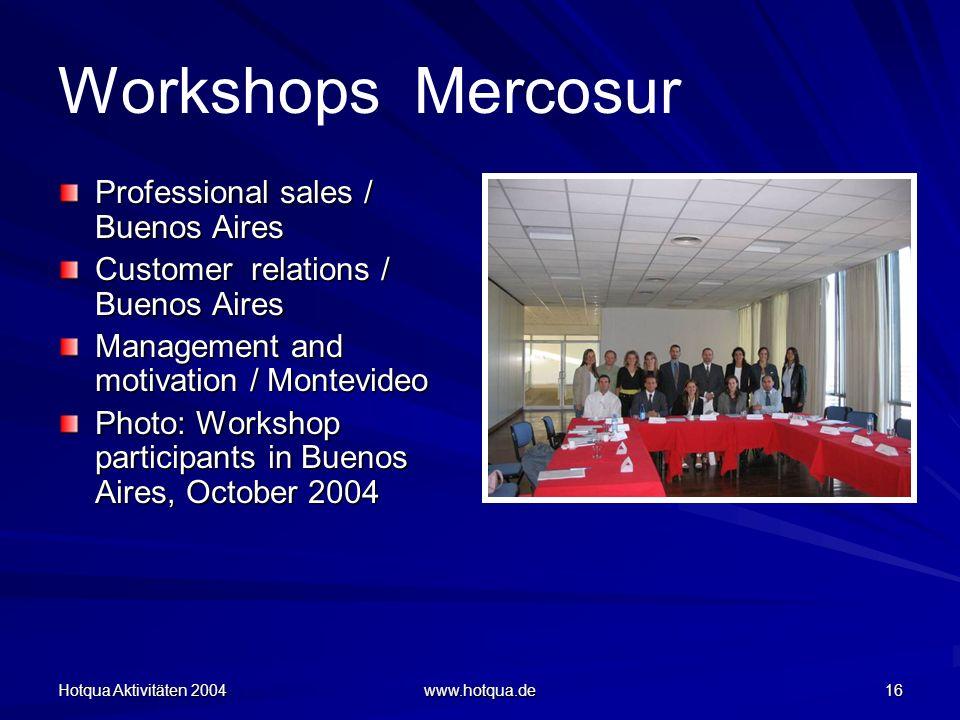 Hotqua Aktivitäten 2004 www.hotqua.de 16 Workshops Mercosur Professional sales / Buenos Aires Customer relations / Buenos Aires Management and motivation / Montevideo Photo: Workshop participants in Buenos Aires, October 2004