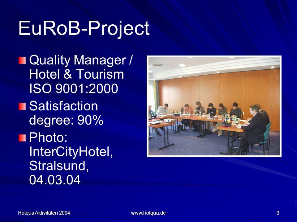 Hotqua Aktivitäten 2004 www.hotqua.de 3 EuRoB-Project Quality Manager / Hotel & Tourism ISO 9001:2000 Satisfaction degree: 90% Photo: InterCityHotel, Stralsund, 04.03.04