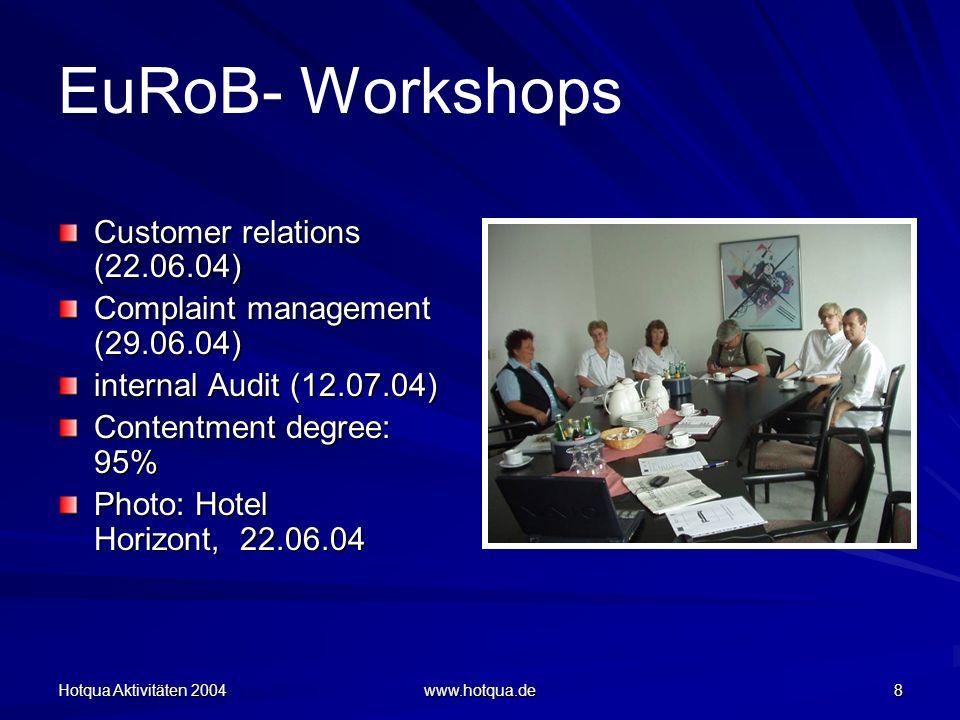Hotqua Aktivitäten 2004 www.hotqua.de 8 EuRoB- Workshops Customer relations (22.06.04) Complaint management (29.06.04) internal Audit (12.07.04) Contentment degree: 95% Photo: Hotel Horizont, 22.06.04