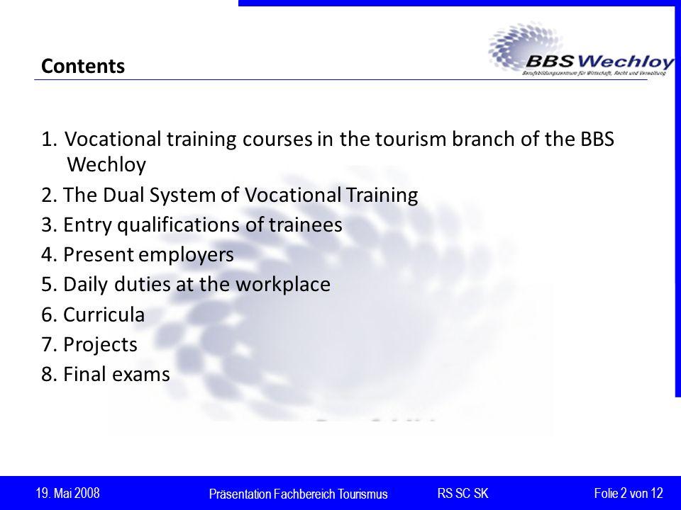 Präsentation Fachbereich Tourismus RS SC SK 19.Mai 2008 Folie 2 von 12 Contents 1.