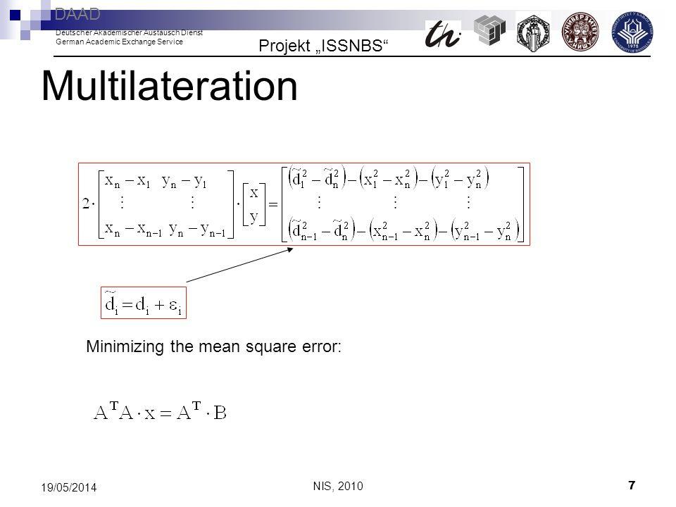 NIS, 2010 7 19/05/2014 Multilateration Minimizing the mean square error: Projekt ISSNBS DAAD Deutscher Akademischer Austausch Dienst German Academic E