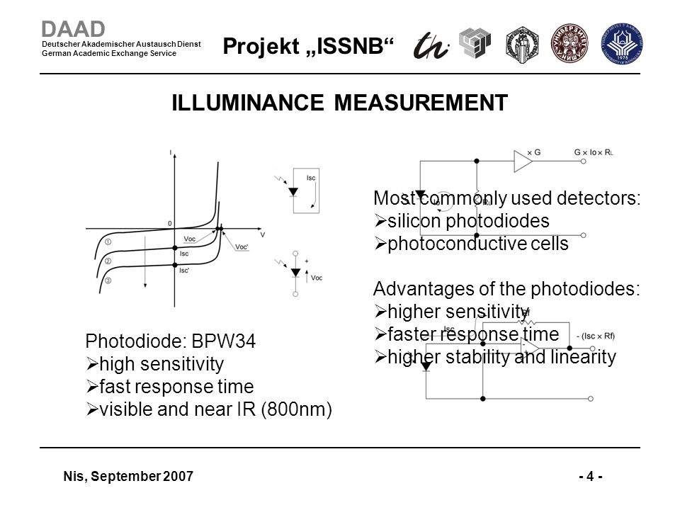 Projekt ISSNB Nis, September 2007- 4 - DAAD Deutscher Akademischer Austausch Dienst German Academic Exchange Service ILLUMINANCE MEASUREMENT Photodiode: BPW34 high sensitivity fast response time visible and near IR (800nm) Most commonly used detectors: silicon photodiodes photoconductive cells Advantages of the photodiodes: higher sensitivity faster response time higher stability and linearity