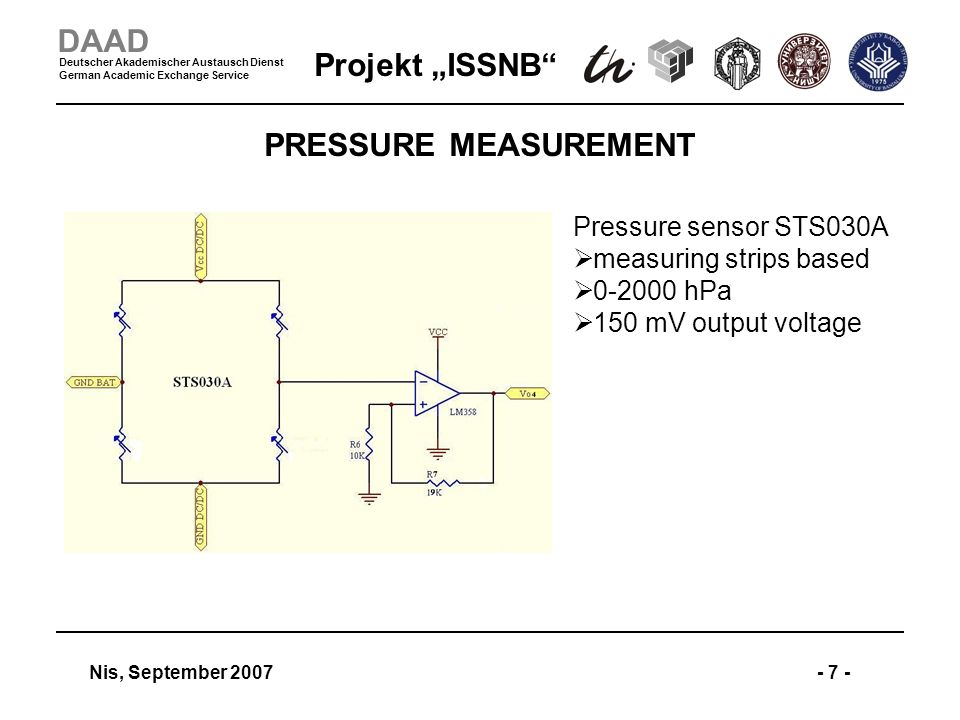 Projekt ISSNB Nis, September 2007- 7 - DAAD Deutscher Akademischer Austausch Dienst German Academic Exchange Service PRESSURE MEASUREMENT Pressure sensor STS030A measuring strips based 0-2000 hPa 150 mV output voltage