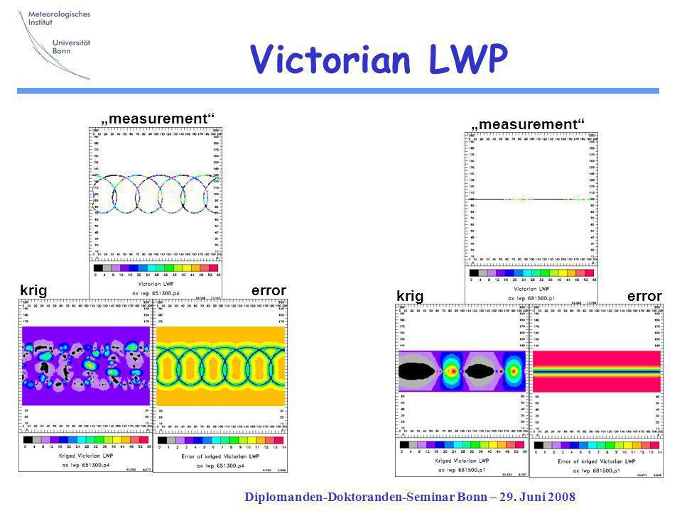 Diplomanden-Doktoranden-Seminar Bonn – 29. Juni 2008 Victorian LWP measurement krigerror krig