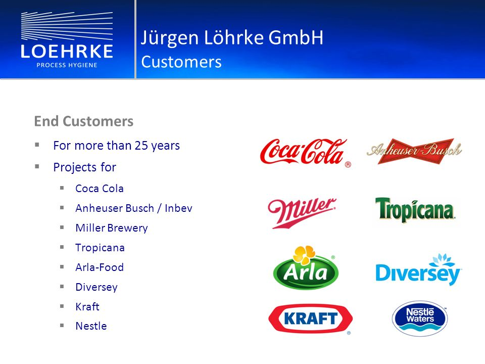 End Customers For more than 25 years Projects for Coca Cola Anheuser Busch / Inbev Miller Brewery Tropicana Arla-Food Diversey Kraft Nestle Jürgen Löhrke GmbH Customers