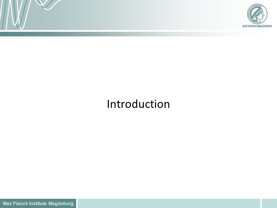Max Planck Institute Magdeburg Introduction
