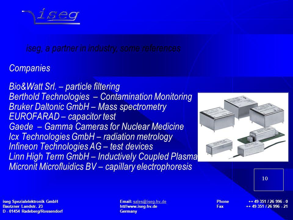10 Bio&Watt Srl. – particle filtering Berthold Technologies – Contamination Monitoring Bruker Daltonic GmbH – Mass spectrometry EUROFARAD – capacitor