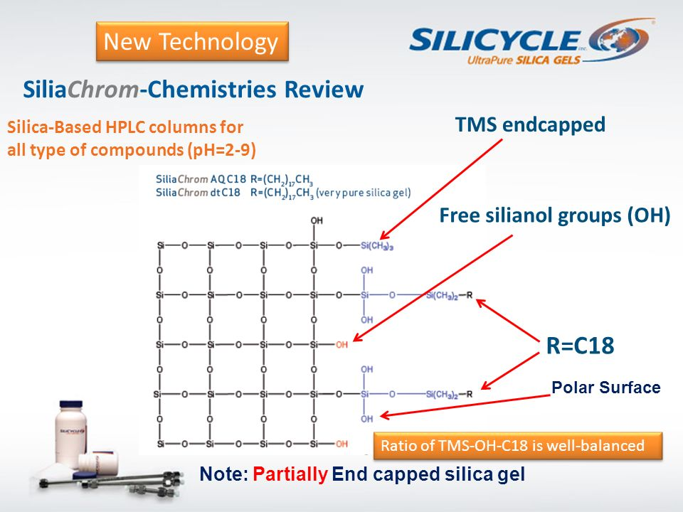SiliaChrom-Chemistries Review Silica-Based HPLC columns for all type of compounds (pH=2-9) Note: Partially End capped silica gel TMS endcapped Free si
