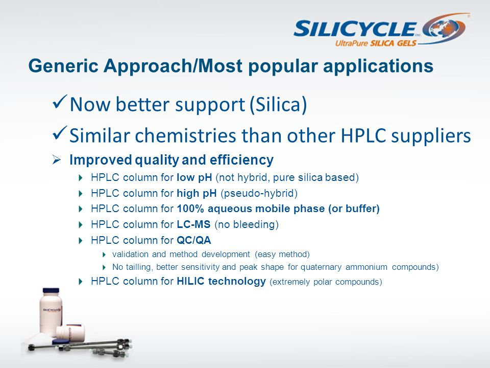 Recent SiliaChrom Applications Halogenated Herbicides by HPLC-Dicamba, Atrazine and 2,4-D Supelco Ascentis C18 5µm 4.6x150mm Asymmetry SiliaChrom dtC18Ascentis C18 1.011.53 1.000.97 1.021.77