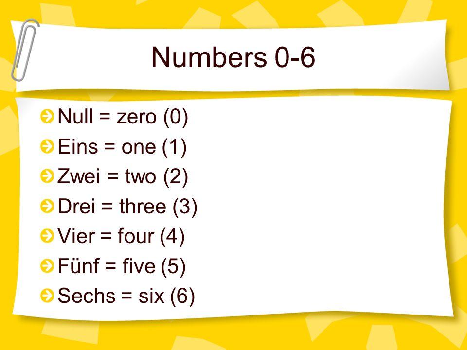 Numbers 7-12 Sieben = seven (7) Acht = eight (8) Neun = nine (9) Zehn = ten (10) Elf = eleven (11) Zwölf = twelve (12)