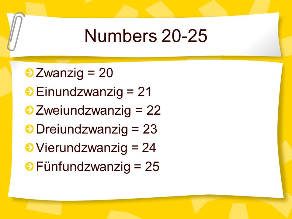 Question 9 How do you say seventeen (17) in German.