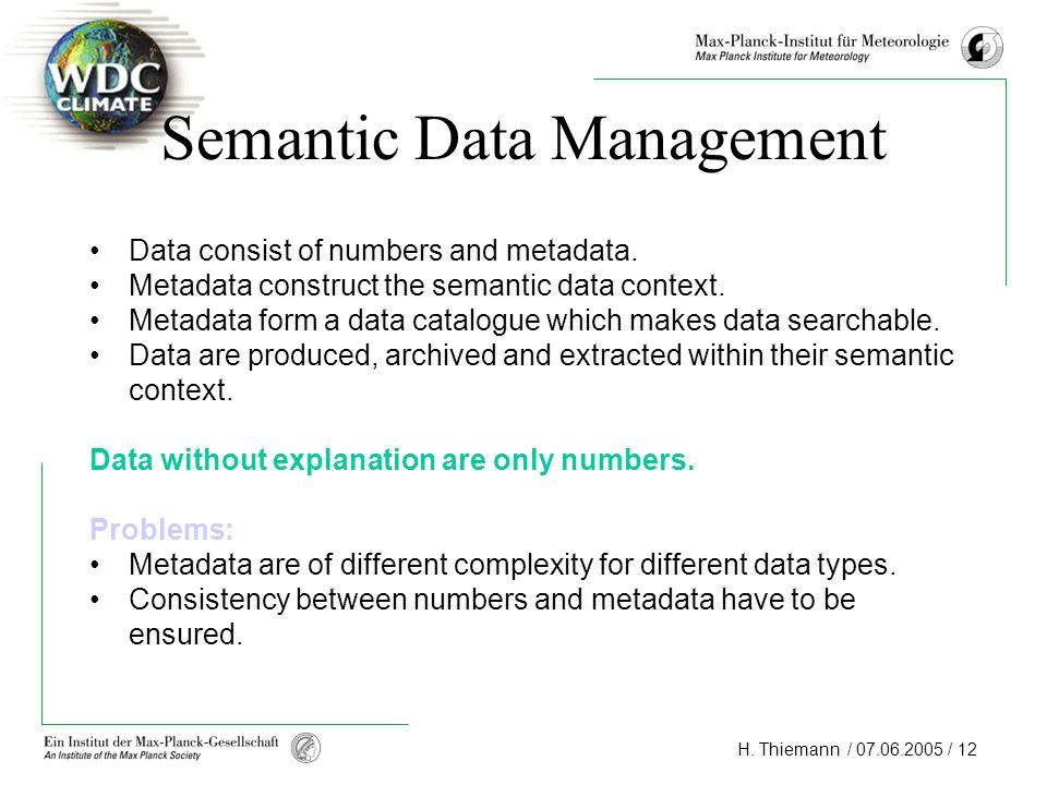 H.Thiemann / 07.06.2005 / 12 Semantic Data Management Data consist of numbers and metadata.