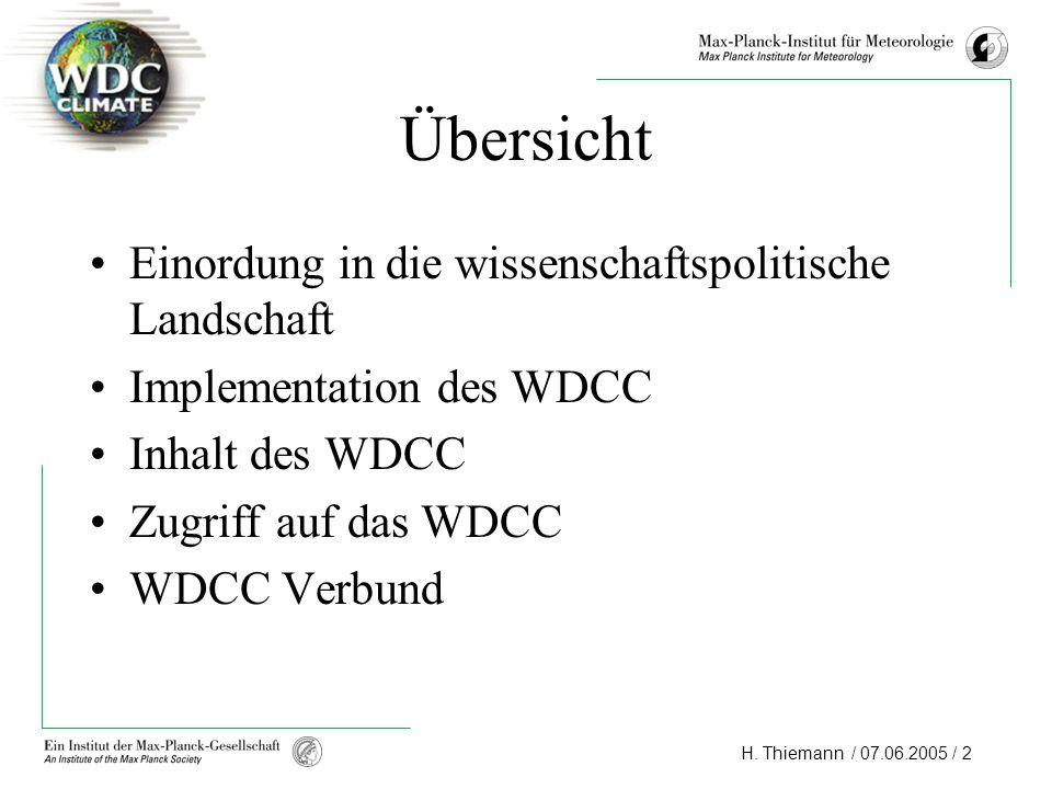 H. Thiemann / 07.06.2005 / 2 Übersicht Einordung in die wissenschaftspolitische Landschaft Implementation des WDCC Inhalt des WDCC Zugriff auf das WDC
