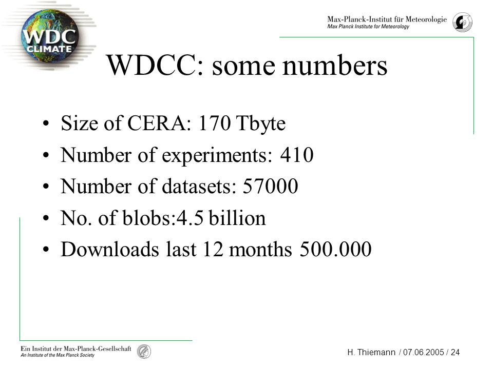 H. Thiemann / 07.06.2005 / 24 WDCC: some numbers Size of CERA: 170 Tbyte Number of experiments: 410 Number of datasets: 57000 No. of blobs:4.5 billion