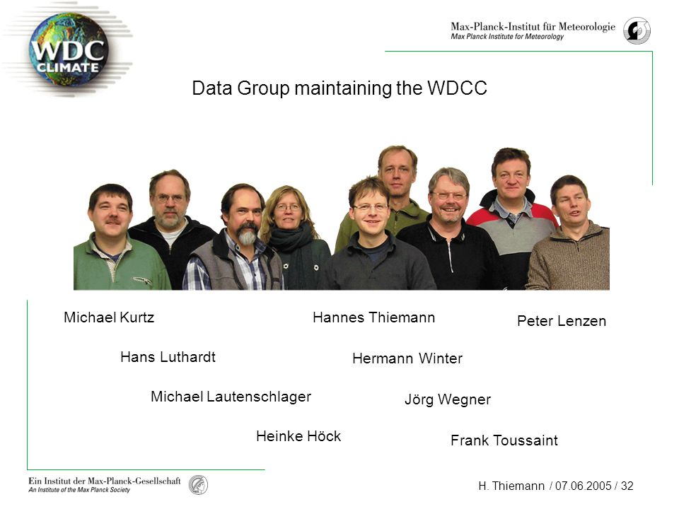 H. Thiemann / 07.06.2005 / 32 Data Group maintaining the WDCC Michael Kurtz Hans Luthardt Michael Lautenschlager Heinke Höck Hannes Thiemann Hermann W