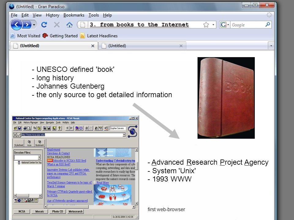 3. from books to the Internet - UNESCO defined 'book' - long history - Johannes Gutenberg - the only source to get detailed information - Advanced Res
