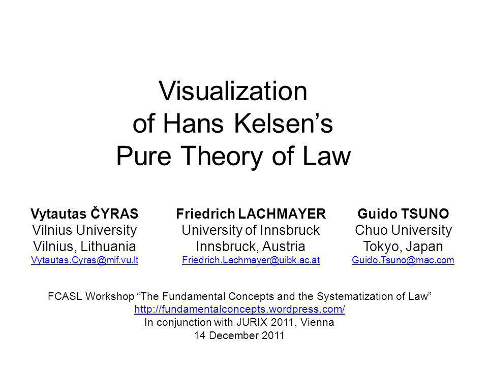 Visualization of Hans Kelsens Pure Theory of Law Vytautas ČYRAS Vilnius University Vilnius, Lithuania Vytautas.Cyras@mif.vu.lt Friedrich LACHMAYER University of Innsbruck Innsbruck, Austria Friedrich.Lachmayer@uibk.ac.at FCASL Workshop The Fundamental Concepts and the Systematization of Law http://fundamentalconcepts.wordpress.com/ In conjunction with JURIX 2011, Vienna 14 December 2011 Guido TSUNO Chuo University Tokyo, Japan Guido.Tsuno@mac.com