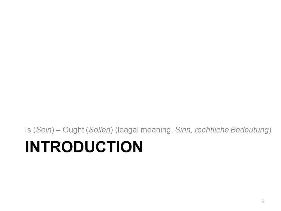 INTRODUCTION Is (Sein) – Ought (Sollen) (leagal meaning, Sinn, rechtliche Bedeutung) 2