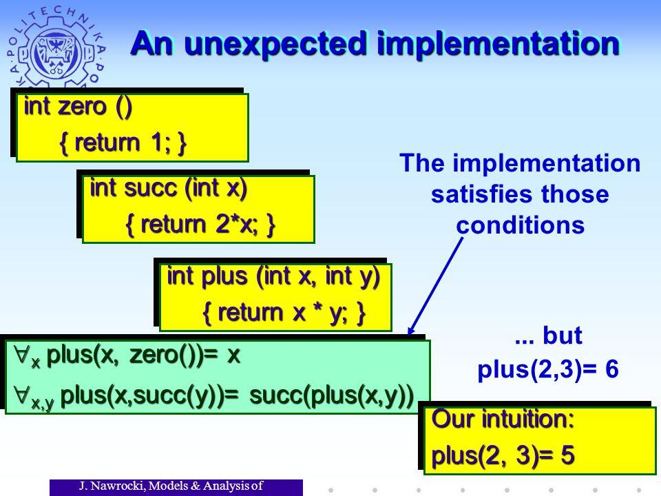 J. Nawrocki, Models & Analysis of Software An unexpected implementation x plus(x, zero())= x x plus(x, zero())= x x,y plus(x,succ(y))= succ(plus(x,y))